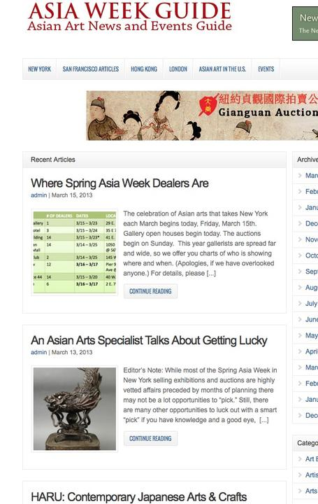 AsiaWeekGuide.com homepage, March 15, 2013