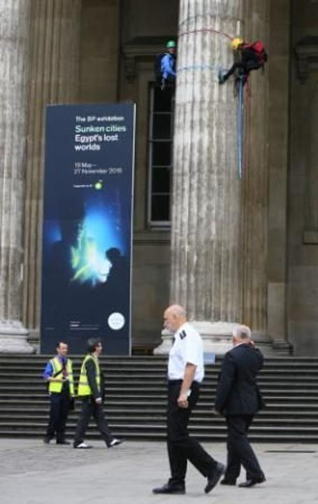Greenpeace protesters scale columns at the British Museum