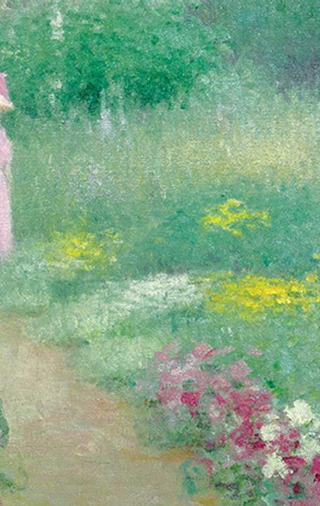 DETAIL: Edmund William Greacen, In Miss Florence's Garden, 1913.  Oil on canvas, 30 x 30 inches, A Private Collector