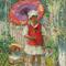 PAULINE PALMER (1867-1938) Girl with Red Parasol.  Oil on panel, 24 x 20 inches.  Signed lower left