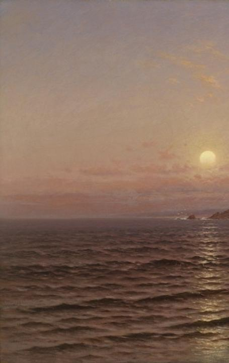 Raymond Dabb Yelland, Moonrise over Seacoast at Pacific Grove, 1886.  Oil on canvas, 40 x 60 in.  Collection of the Oakland Museum of California, Gift of the estate of Helen Hathaway White and the Oakland Museum Women's Board