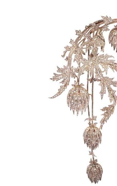 Lot 1000: ANDRE KAUFFER DIAMOND THISTLE CORSAGE ORNAMENT.  Dec.  6 at Rago's Auction.