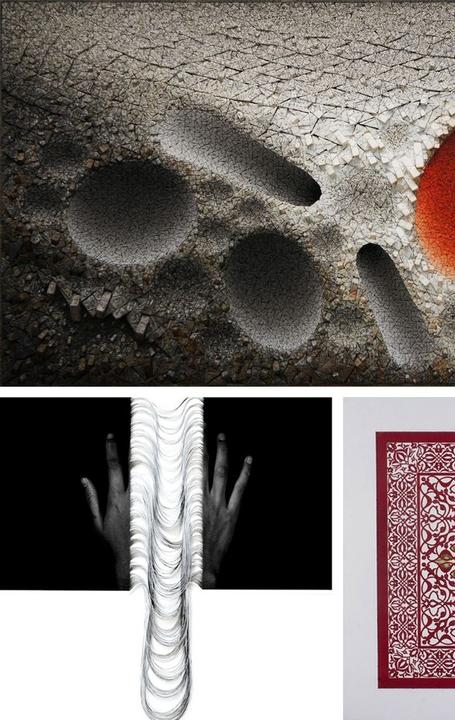 Works by Chun Kwang Young, Anila Quayyum Agha, and Kamolpan Chotvichai.