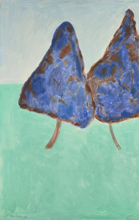 Milton Avery, Dancing Trees , 1960.  Oil on canvas, 52 x 66 in.  Paul G.  Allen Family Collection © 2015 Mi l ton Avery Trust / Artists Rights Society (ARS), New York