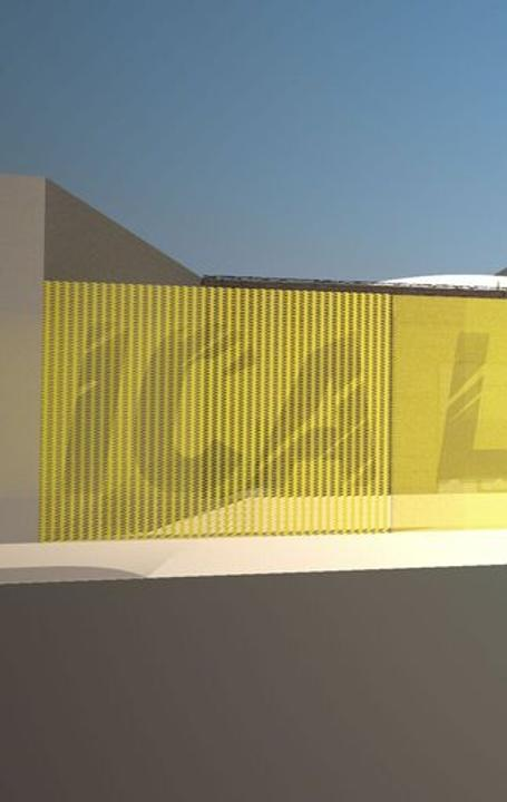 Concept drawing by wHY of future ICA LA space, featuring new logo design