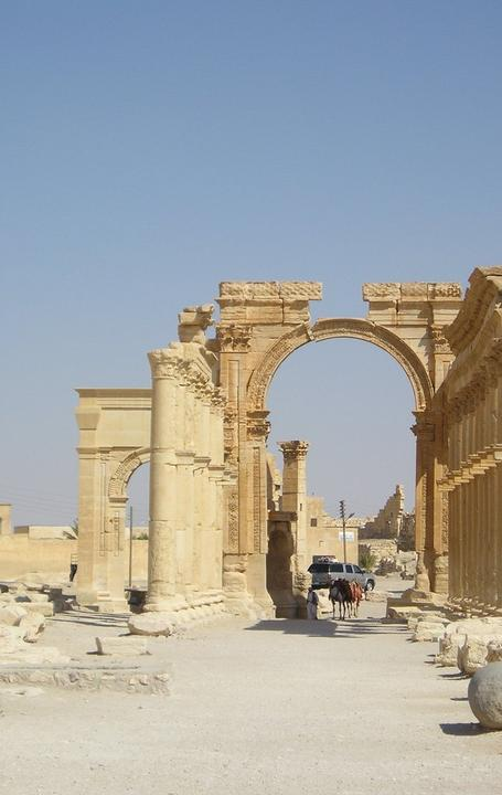 Palmyra's Roman-era Arch of Triumph was blown up by ISIS.