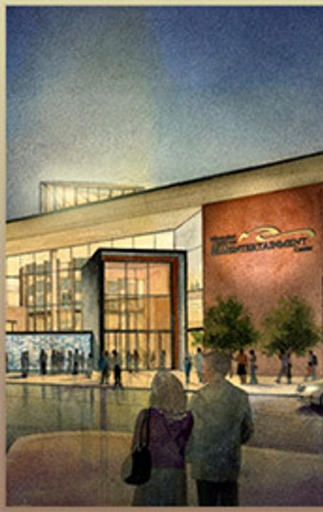 Rendering of The Mississippi Arts & Entertainment Center.  Designer: Gallagher & Associates.  Architect: LPK Architects, CANIZARO CAWTHON DAVIS.