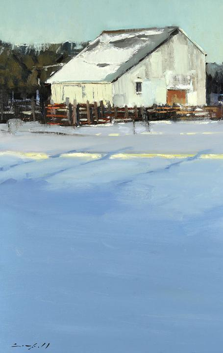 "Peter Campbell, ""Winter Barn,"" Oil on Canvas, 24 x 24 in"