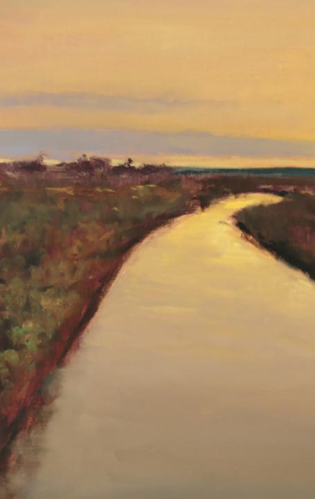 "Peter Campbell, ""Daybreak at the Rio Grande,"" Oil on Canvas 16 x 24 in"