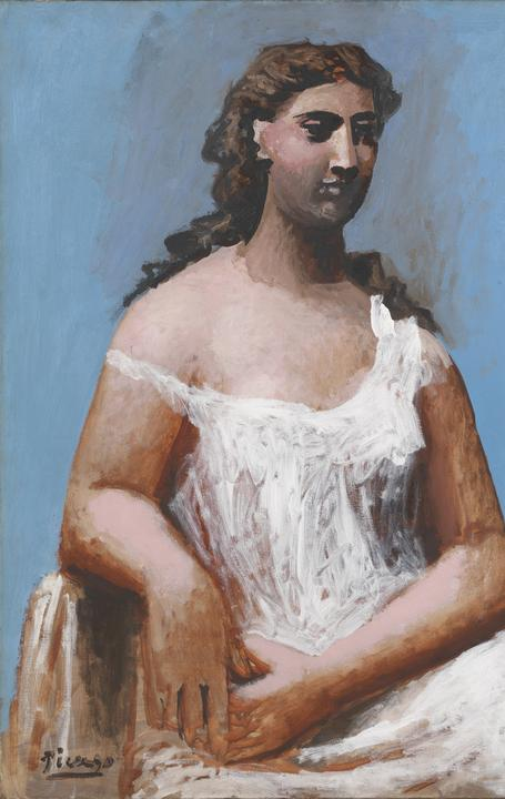 Pablo Picasso, Seated Woman in a Chemise (Femme en chemise assise) , 1923, oil on canvas, 36 ½ x 28 ¾ in.  (921 x 730 mm) .  Tate: Bequeathed by C.  Frank Stoop 1933 , N04719.  © 2016 Estate of Pablo Picasso / Artists Rights Society (ARS), New York .  Image © Tate, London 2015