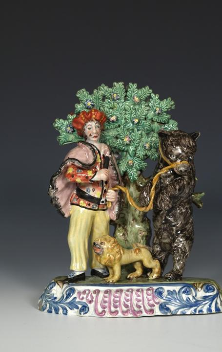 Staffordshire Pearlware Group: Savoyard and Dancing Bear, c.1820 Bright polychrome enamels
