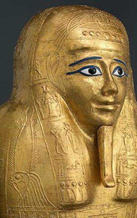 Gilded Coffin Lid for the Priest Nedjemankh (detail).Late Ptolemaic Period (150-50 B.C.).  Cartonnage, gold, silver, resin, glass, wood.  Purchase, 2017 Benefit Fund; Lila Acheson Wallace Gift; Louis V.  Bell, Harris Brisbane Dick, Fletcher, and Rogers Funds and Joseph Pulitzer Bequest; Leona Sobel Education and The Camille M.  Lownds Funds; and 2016 Benefit Fund, 2017 (2017.255b).  Image © The Metropolitan Museum of Art, New York