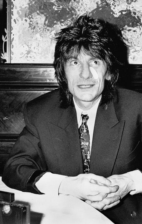 Ronnie Wood in 1988 in Malmö at a vernissage of his art at Hotel Cramer.  The artwork by Ronnie Wood in the background was garbled because of copyright reasons.