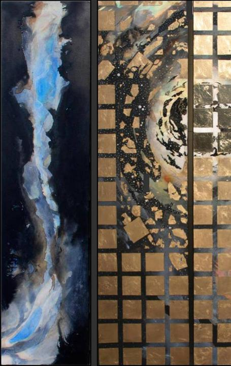 Westby and Mercier, Seemingly Endless, Ink & Gold on Canvas,60'' x 60''