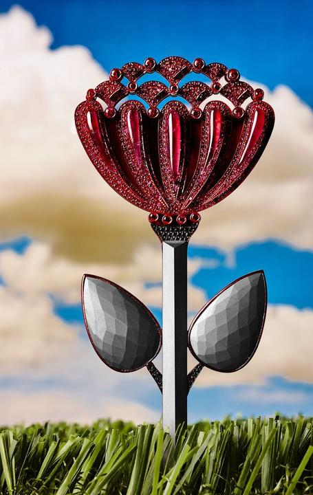 Ruby Chrysanthemum Pin Rubies, black diamonds, Brazilian hematite, red PVD plated German silver