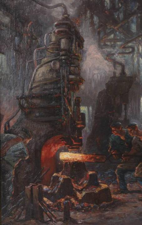 "German Expressionist painting of factory workers by Anton ""Toni"" Wolter, 1879-1929 ($1,060)."