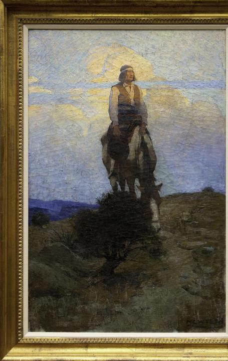 N.C.  Wyeth (1882-1945), He Rode Away, Following a Dim Trail Among the Sage, 1909, oil on canvas, 38 x 25, Estimate: $500,000–$700,000