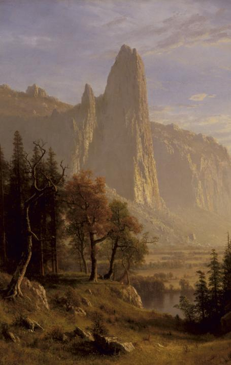 Albert Bierstadt Yosemite Valley , 1868 Oil on canvas 54 1/4 × 72 1/2 in.  Collection of the Oakland Museum of California, gif t of Miss Marguerite Laird in memory of Mr.  and Mrs.  P.W.  Laird