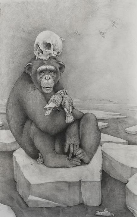 himp with Skull, 2016.  Graphite on paper, 60 x 36 inches