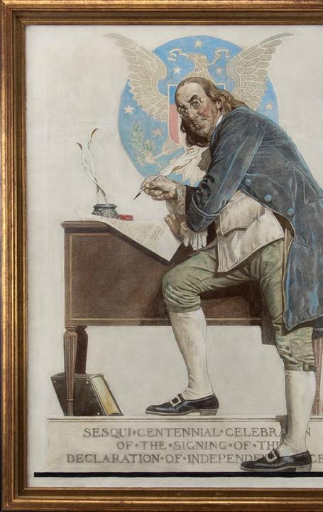 Norman Rockwell painting of Ben Franklin commissioned for the 1926 Saturday Evening Post edition commemorating the Sesquicentennial Celebration of the Signing of the Declaration of Independence.