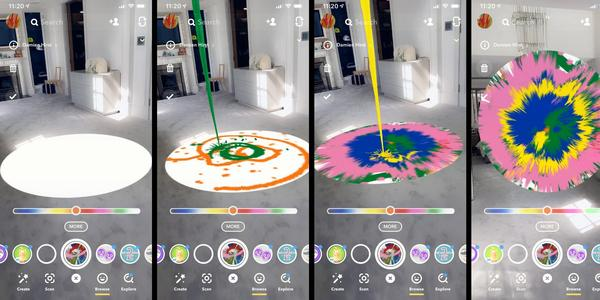 Snapchat teamed up with Damien Hirst to offer users an AR lens for making spin paintings.