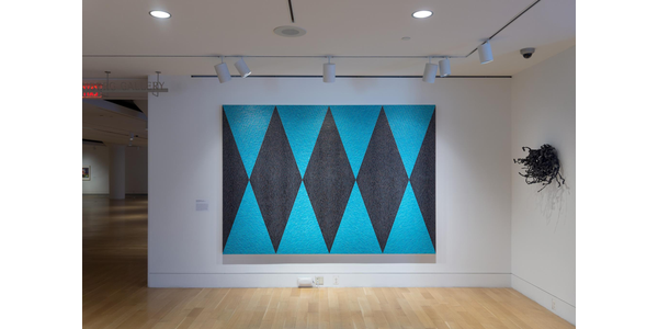 Dyani White Hawk, (b.  1976) She Gives (Quiet Strength VII), 2020.  Acrylic on canvas, 84 x 120 in.  (213.36 x 304.8 cm.) Courtesy of the Pennsylvania Academy of the Fine Arts, Philadelphia .  Museum Purchase, 2020.17