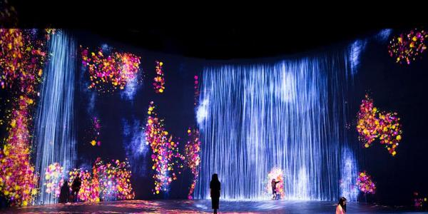 teamLab, Exhibition view of Every Wall is a Door, 2020.  Superblue Miami, Miami, Florida © teamLab, courtesy Pace Gallery