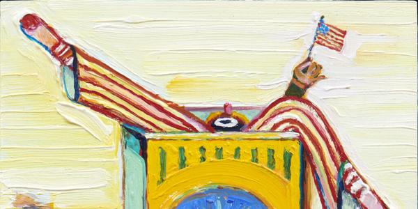 """Wayne Thiebaud's oil-on-board painting """"Boxed Clown (with Flag)"""" from 2017, in """"Wayne Thiebaud: Clowns."""""""
