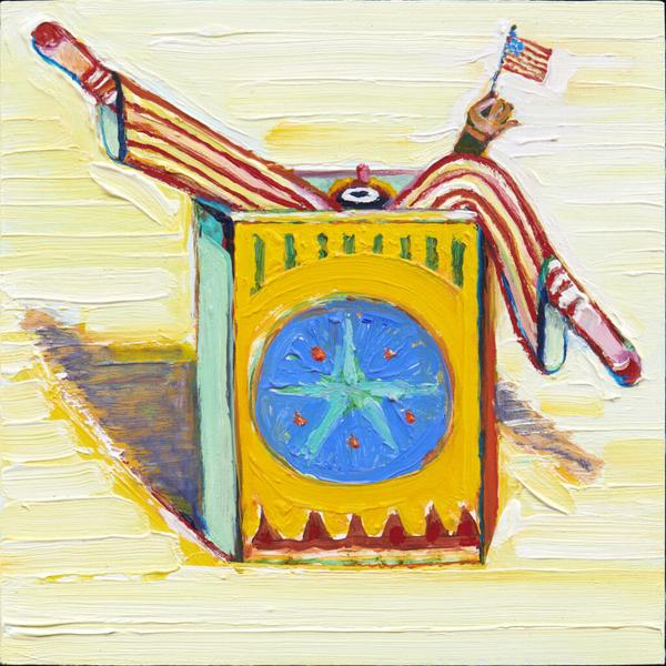 "Wayne Thiebaud's oil-on-board painting ""Boxed Clown (with Flag)"" from 2017, in ""Wayne Thiebaud: Clowns."""