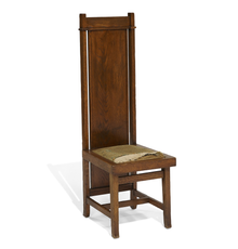 LOT 216: Frank Lloyd Wright chair from Browne's Bookstore in Chicago's Fine Arts Building, 1908.  Estimate $20,000-30,000