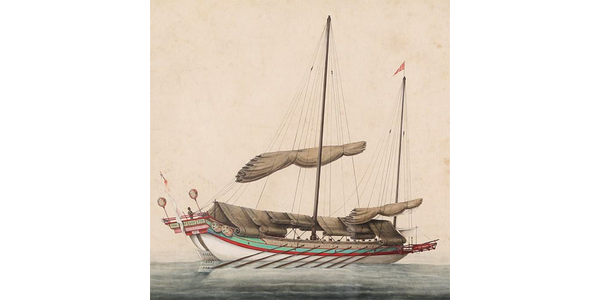 Chinese Export Watercolor of Junk, 19th Century
