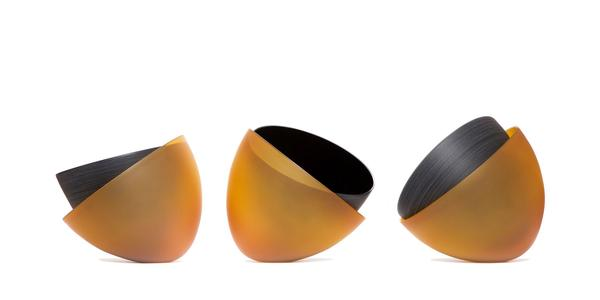 Mel Douglas, INTERSTICES, 2020, Blown glass, 11.75 x 15.75 x 15.75 inches (each).  Courtesy of Traver Gallery.