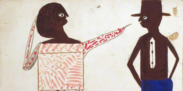 "Bill Traylor, Untitled ""Woman pointing at Man"" c.  1938-43.  Pencil, colored pencil, watercolor on found cardboard 14 x 11 inches."