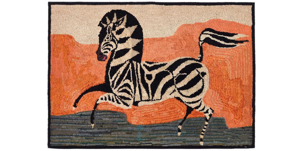 From Earle Vandekar of Knightsbridge, American Hooked Rug Depicting a Zebra Mounted on Stretcher, Early 20th Century, (Ref: NY9569 - camr).