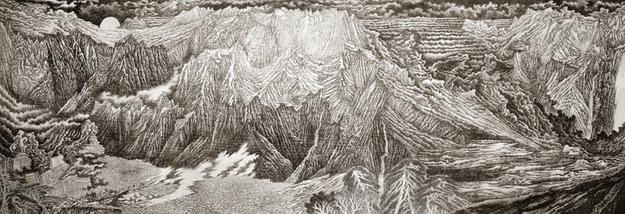 "Yu Han Yu, ""Sharp Lines,"" Soft Nature, 2012, Ink on Paper, 150 x 420 cm"