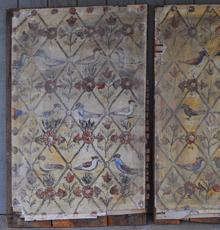 An extremely rare and important set of three folk art painted plaster walls in original condition, removed from an 18th century house in Old Lyme, CT.