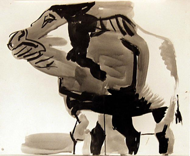 Howard Warshaw, Bull, c.  1950, ink on paper, 12.5 x 15 inches