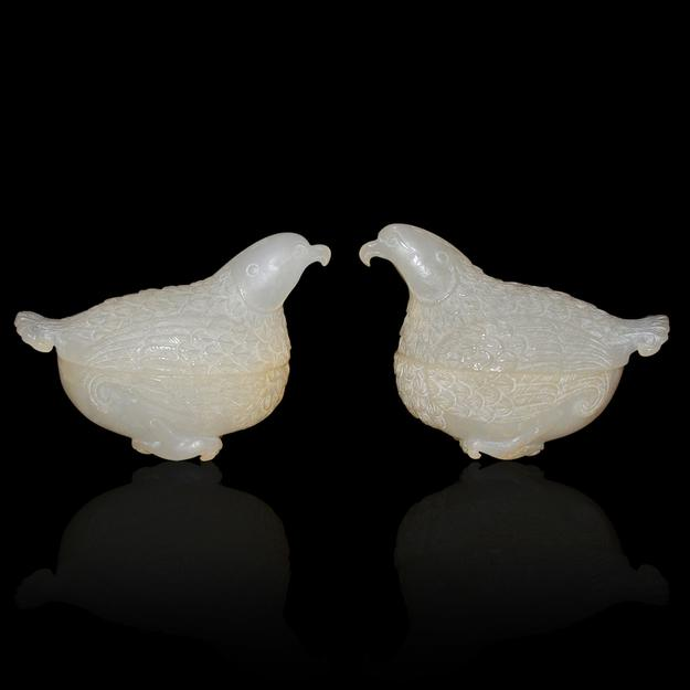 Lot 122.  A pair of white jade quail boxes just two inches tall and of the Qing Dynasty.  $40,000-$60,000.