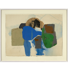 Frank Wimberley, Untitled (Collage), 1971, Newsprint, handmade paper, Color-aid and painted paper on Arches paper, 22 1/2 x 30 inches.