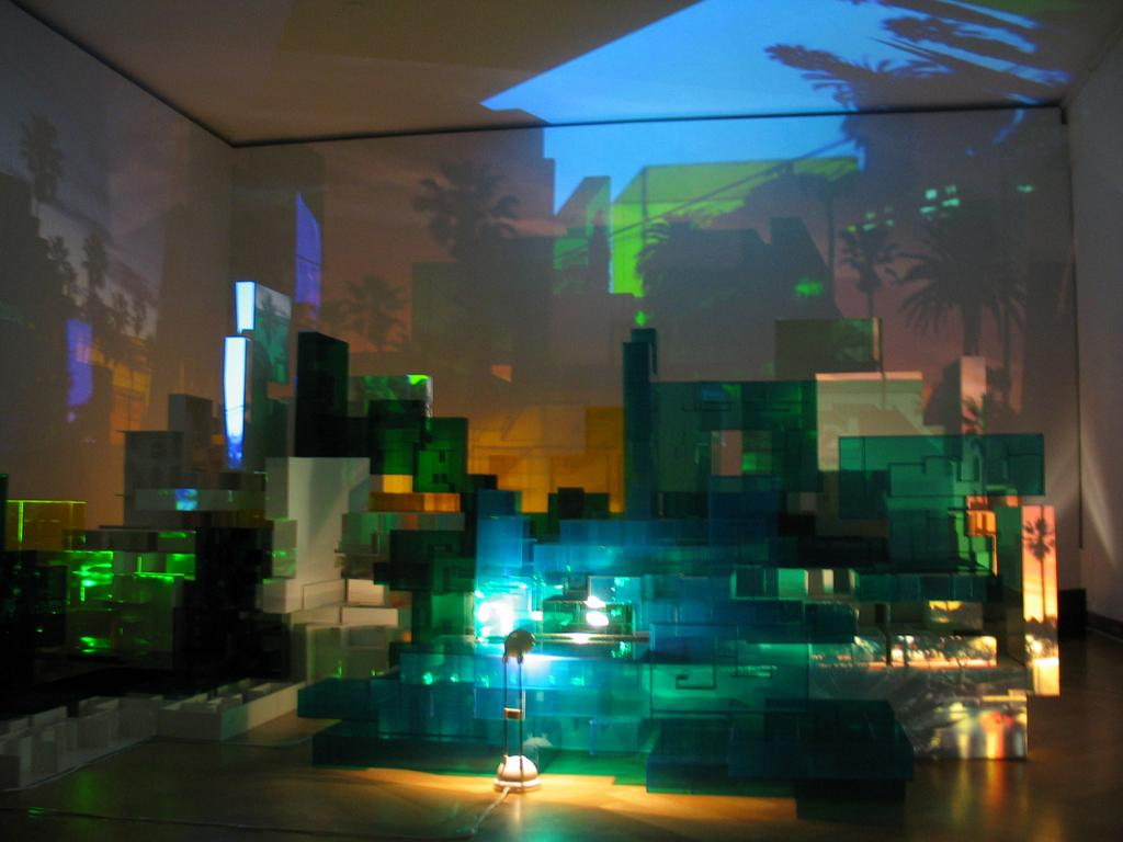 Won Ju Lim California Dreamin', 2002 Foamcore, Plexiglas, lamps, digital video projection, and still image projections Dimensions variable Gift of the artist and Haines Gallery 2017.03