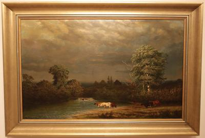 Ferdinand Alexander Wust (Dutch-American, (1837 - 1876): The Coming Storm - Oil on canvas, 19.5 x 31.5 inches / Signed lower leftpper left