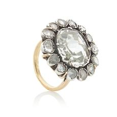 Lot 1037 - GEORGIAN ROSE-CUT DIAMOND BUTTON RING (once belonging to Emperor Maximilain I of Mexico) Est.  $45,000 - 65,000
