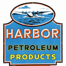 Top lot of the sale: a circa-1940s porcelain sign advertising Harbor Petroleum Products, Long Beach, California, with Boeing 314 Clipper airplane graphic, 8.9+ condition, 39 x 35in.  Sold for $44,000
