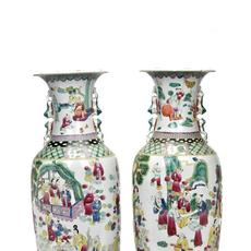Pair of large Chinese porcelain vases decorated with elaborate scenes and calligraphy.  Each 600mm high x 250mm wide.  Estimate: £600-£900