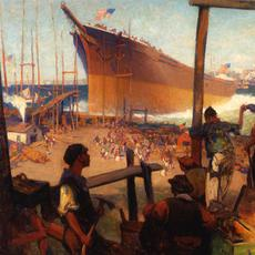 "William James Aylward (American, 1875 – 1956), ""The Launching,"" n.d.  Oil on canvas, 23 1/2 × 29 1/2 inches.  Georgia Museum of Art, University of Georgia; Eva Underhill Holbrook Memorial Collection of American Art, Gift of Alfred H.  Holbrook.  GMOA 1945.1."