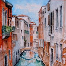 "Image: ""View from the Bridge in Venice"" by Leonora de Lange"