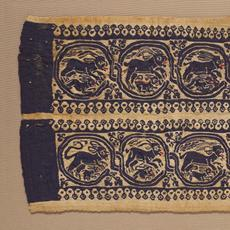 Cuff band with animals in interlocking scrolls, Byzantine, late 4th to early 5th century.  Wool and linen, tapestry weave.  Harvard Art Museums/Arthur M.  Sackler Museum, Gift of Benjamin and Lilian Hertzberg, 2004.204.
