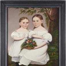 The top lot of the auction was this Hannah Fairfield double oil portrait of Lucy Adams Tracy and Ellen Nichols Tracy, circa 1839, that attained $21,250.