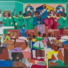 Lot 20.  Varnette P.  Honeywood, Jesus Loves Me, 1983, acrylic on canvas, 36 x 48 in., $10,000-20,000