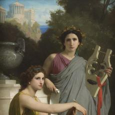 William-Adolphe Bouguereau, Art and Literature, 1867.  Oil on canvas, 78 3/4 × 42 1/2 in.  Collection of the Arnot Art Museum, Elmira, New York USA
